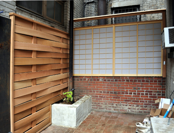 Exterior shoji screens and fence