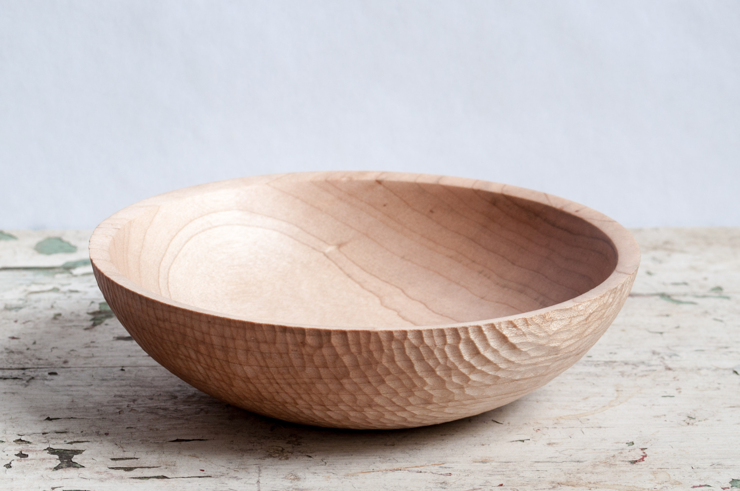 Small carved maple bowl big sand woodworking